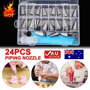 24pcs Nozzle+ Silicone Icing Piping Bags Cream Pastry Set Cake Decorating Tools