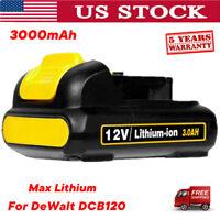 For DEWALT 12 VOLT MAX LITHIUM ION DCB120 DCB127 DCD710 12V BATTERY PACK 3.0AH