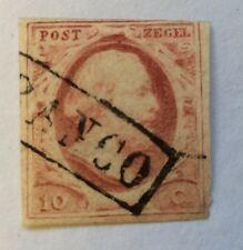 1852 Netherlands SG2 10c Stamp cancelled