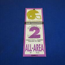 2004 FSU Florida State vs Clemson Football Game All Area Access Pass Ticket