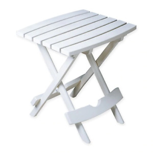 Rectangle Quick Folding All Weather Camping Indoor Outdoor Side Table in White