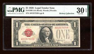 DBR 1928 $1 Legal Fr. 1500 PMG 30 EPQ Serial A01357520A