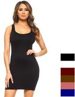 Womens Plus Cami Bodycon Slip Tank Top Mini Dress Liner One Size Fit (S,M,L)