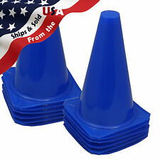 "12 New 9"" Tall Cones ~ Soccer Football Traffic Safety Blue"