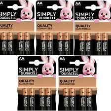 20 x SIMPLY DURACELL AA MN1500 LR6 Batteries 1.5V ALKALINE   5 PACKS 4