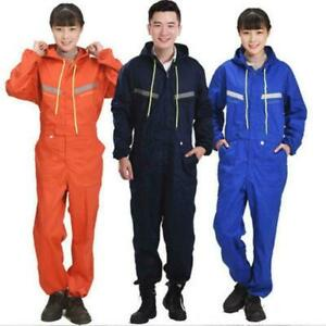 Men Women Coveralls Overalls Workwear Mechanic Jumpsuit Protective Reflective