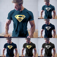 Mens Superhero Logo Short Sleeve Basic T-shirt Gym Sports Casual Muscle Tops