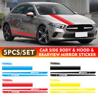 5pcs Car Racing Long Stripe Body Decal Side Rear View Mirror Hood Vinyl Stickers