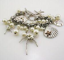 "Joan Rivers  AdjustableFaux Pearl  Star Fish  Toggle Bracelet  silver 7 1/2""-8"""