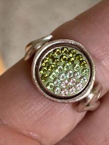 Estate Kameleon Sterling Silver Ring Green  Rhinestones Sz 9
