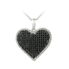 925 Silver Black & White CZ Heart Necklace, 18""