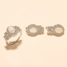925 Sterling Silver Solitaire Moonstone Ring Earrings Wedding Fine Jewelry Set