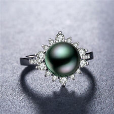 Pretty 925 Silver Jewelry Round Cut Black Pearl Women Wedding Ring Size 8