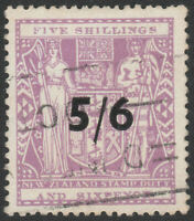 """NEW ZEALAND 1940 """"ARMS"""" SG F188 5/6 ON 5s6d LILAC FISCAL FINE USED WMK W43"""