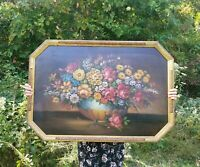"""Antique 19c Dutch Flower Painting in Style of Monnoyer Octagonal Frame 38"""" x 26"""""""
