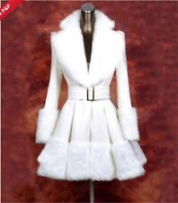 Sweety Women's Wool Blend Coat Princess Fur Collar Belt Slim Fit Thicken Parka