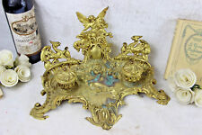 LARGE Antique French Castle gothic Dragon devil  putti Bronze inkwell top piece