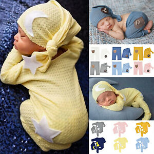 Newborn Infant Baby Photography Props Rompers/Pants Knitting Knot Button Hat Set