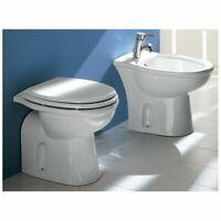 Sanitari filomuro per arredo bagno wc + sedile copriwc + bidet Serie Rak Karla