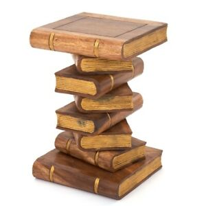"""Book Stack Table 20""""/Lamp Table/Plant Stand/Hand Carved/Solid Wood/Waxed-Gold"""