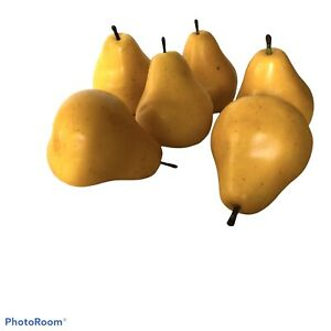 """Faux Yellow Pears Set of 6 Realistic Small Pottery Barn Quality 2.5 x 2.5"""""""