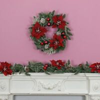 Indoor Christmas Poinsettia Garland & Wreath with Decorations | Home Door Mantel