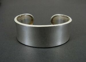"Smooth Sleek Design 7/8"" Wide Sterling 925 Silver Cuff Bracelet"