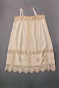 VTG Women's 20s 30s Beige Underwear / Slip w Lace Sz L 1920s 1930s Lingerie