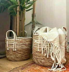 Rustic Round Straw Wicker Plant Pot Holder Trug Vintage Floor Storage Log Basket