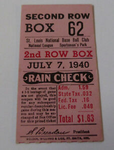 VINTAGE JULY 7, 1940 SAINT LOUIS CARDINALS TICKET STUB~ SPORTMAN'S PARK~baseball