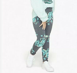 Nwt Girls Justice Fleece Lined Soft Warm Leggings Floral Heather Gray Size 6