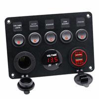 5 Gang Inline Fuse Box LED Rocker Switch Panel 2 USB Charger Socket Boat DC