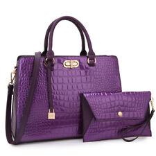 New Womens Handbags Faux Croco Leather Satchels Medium Purse w/ Wallet Wristlet