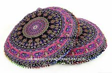 2 PC Indian Elephant Mandala Round Floor Pillow Cushion Meditation Ottoman Poufs
