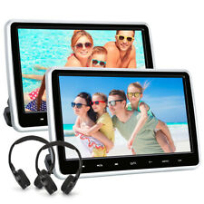 "2*10.1"" Car Headrest DVD Player Dual Screen Monitors USB SD AV IN/OUT+Headphones"