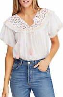 Free People Women's Blouse White Size Medium M Stripe Print Crochet $98 #793