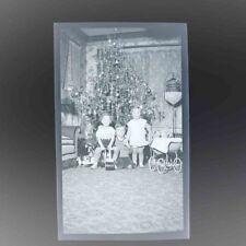 Christmas Tree 1930's Children Around Christmas Tree Large Negative