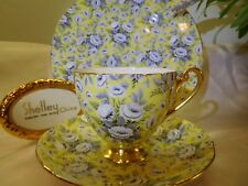 SHELLEY  YELLOW TAPESTRY ROSE  CHINTZ  * RIPON * FOOTED  CUP,  SAUCER AND PLATE