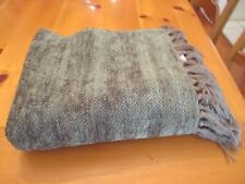 "Eddie Bauer Home Sage Green Throw Blanket with 4"" Fringe 50 x 62 Dry Clean EUC"