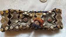 Bedouin Anklet Ankle Repousse Panel Bracelet Amazing Old Silver Bellydance