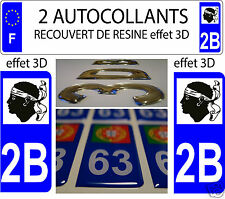 2 STICKERS RECOUVERT DE RESINE PLAQUE IMMATRICULATION CORSE DEPARTEMENT 2B