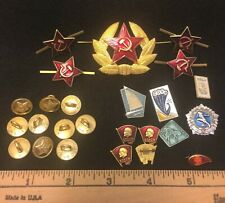 Vtg lot of 25 Red Army Cccp Uniform Insignia Military Soviet Russia Pins Buttons