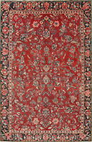 Antique All-Over Floral Mahal Hand-Knotted 7x11 Wool Oriental Area Rug