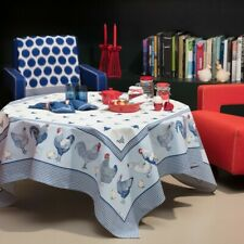 "BEAUVILLE, ""PICOTI"" BLUE (ROOSTERS) FRENCH SATIN COTTON TABLECLOTH, 59"" X 83"""
