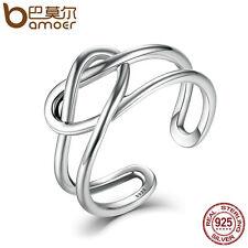 Bamoer Retro 925 Sterling Silver Ring Line winding Fashion Jewelry For Women/men