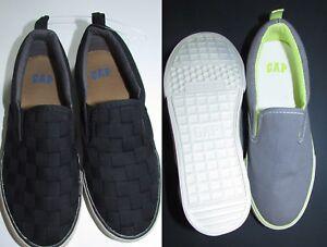 NEW GAP KIDS Canvas Slip-On Sneakers Light Gray Size 3,  Black Size 2