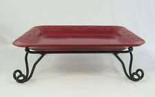 Longaberger Pottery Paprika Red Rectangular Serving Tray & Wrought Iron Stand