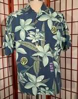 Tommy Bahama Hawaiian Shirt Mens Med Blue 100% Silk Short Sleeve Floral Euc