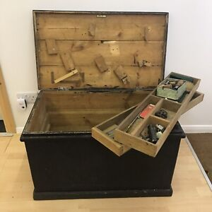 Large Vintage Wooden Carpenters Tool Box Chest Rustic Industrial With Some Tools