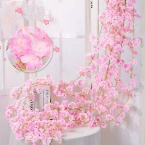 2M Artificial Cherry Flower Garland Hanging Rattan Fake Wedding Decor Plant UK